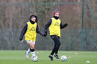 Jessica Silva Valdebenito (18) of Sporting Charleroi and Madison Hudson (8) of Sporting Charleroi pictured during the warm up before a female soccer game between Standard Femina de Liege and Sporting Charleroi on the 16th matchday of the 2020 - 2021 season of Belgian Scooore Womens Super League , saturday 13 th of February 2021  in Angleur , Belgium . PHOTO SPORTPIX.BE | SPP | SEVIL OKTEM