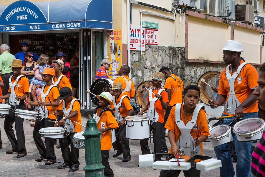 Philipsburg, Sint Maarten.  Young Men's Drummer Band Performing on Front Street.
