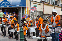 Philipsburg, Sint Maarten.  Young Men's Drummer Band Performing on Front Street.