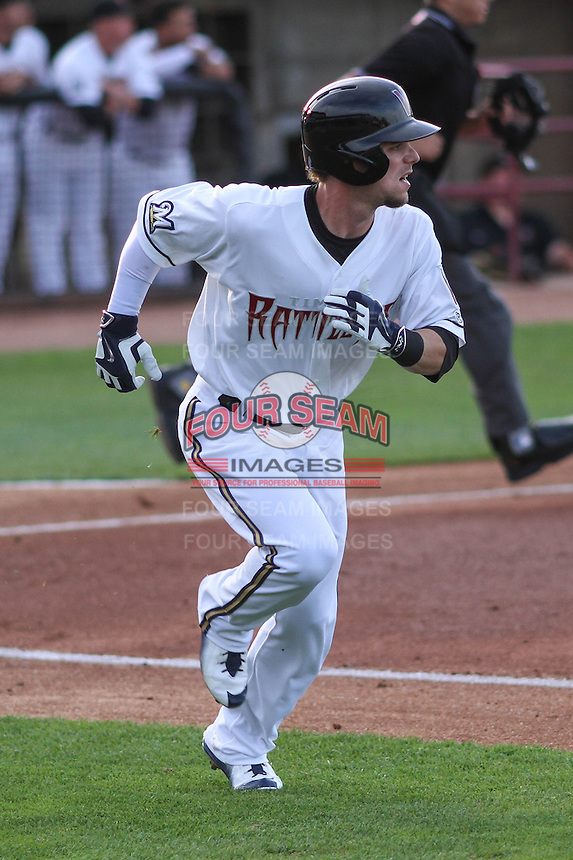 Milwaukee Brewers second baseman Scooter Gennett (20) during a rehab appearance with the Wisconsin Timber Rattlers against the Cedar Rapids Kernels on May 4th, 2015 at Fox Cities Stadium in Appleton, Wisconsin.  Cedar Rapids defeated Wisconsin 9-3.  (Brad Krause/Four Seam Images)
