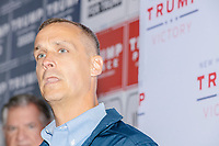 Former 2016 Trump campaign manager and current 2020 Trump campaign senior advisor Corey Lewandowski speaks about the ongoing campaign at a Trump campaign office opening party in Salem, New Hampshire, on Fri., Sept. 18, 2020. Lewandowski lives in nearby Windham, NH, and attended the party which also served as a surprise birthday party for him.