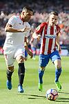 Atletico de Madrid's Kevin Gameiro and Sevilla's Gabriel Mercado during La Liga match between Atletico de Madrid and Sevilla CF at Vicente Calderon Stadium in Madrid, Spain. March 19, 2017. (ALTERPHOTOS/BorjaB.Hojas)