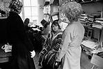Erin Pizzey in her office, Chiswick Women's Aid,  Richmond London Uk 1975