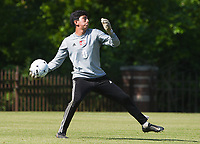 NWA Democrat-Gazette/CHARLIE KAIJO Russellville High School goalkeeper Jorge Mendoza (0) throws the ball during the Class 5A State Soccer Tournament championship, Friday, May 18, 2019 at Razorback Field in Fayetteville. Russellville High School defeated Siloam Springs 1-0