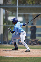 Tampa Bay Rays Jesus Sanchez (71) hits a home run during a minor league Spring Training game against the Baltimore Orioles on March 29, 2017 at the Buck O'Neil Baseball Complex in Sarasota, Florida.  (Mike Janes/Four Seam Images)
