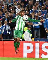 BOGOTA - COLOMBIA - 18 – 02 - 2018: Jeison Lucumi, jugador de Atletico Nacional, en acción, durante partido de la fecha 4 entre Millonarios y Atletico Nacional, por la Liga Aguila I 2018, jugado en el estadio Nemesio Camacho El Campin de la ciudad de Bogota. / Jeison Lucumi, player of Atletico Nacional, in action during a match of the 4th date between Millonarios and Atletico Nacional, for the Liga Aguila I 2018 played at the Nemesio Camacho El Campin Stadium in Bogota city, Photo: VizzorImage / Luis Ramirez / Staff.