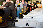Newport County 1 Exeter City 1, 16/03/2014. Rodney Parade, League Two. Newport County finally return to the Football league after years of turmoil but a poor run of results has dented hopes of reaching the play-offs while Exeter City battle relegation. County supporters look on in the Hazell Stand. Photo by Simon Gill