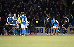St Johnstone v Rangers…27.02.18…  McDiarmid Park    SPFL<br />Sean Goss scores from a free kick<br />Picture by Graeme Hart. <br />Copyright Perthshire Picture Agency<br />Tel: 01738 623350  Mobile: 07990 594431