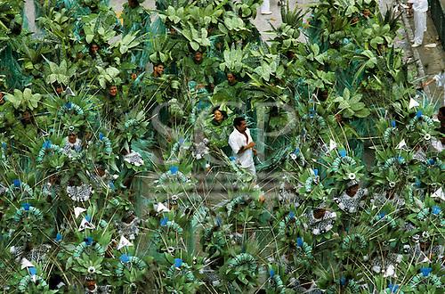 Rio de Janeiro, Brazil. Samba school dressed as Amazon plants; Carnival.