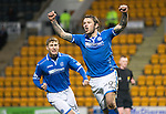 St Johnstone v Hearts.....18.01.14   SPFL<br /> Stevie May celebrates his penalty kick<br /> Picture by Graeme Hart.<br /> Copyright Perthshire Picture Agency<br /> Tel: 01738 623350  Mobile: 07990 594431