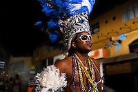 Carlinhos Brown, a famous Bahia musician, dances on the street before the festival of Yemanjá, the goddess of the sea, in Salvador, Bahia, Brazil, 2 February 2012.