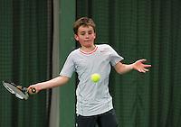 Rotterdam, The Netherlands, 07.03.2014. NOJK ,National Indoor Juniors Championships of 2014, Daniel Bérnard  (NED)  Sam van Vendeloo (NED)<br /> Photo:Tennisimages/Henk Koster
