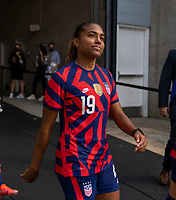 EAST HARTFORD, CT - JULY 5: Catarina Macario #19 of the USWNT walks onto the field during a game between Mexico and USWNT at Rentschler Field on July 5, 2021 in East Hartford, Connecticut.