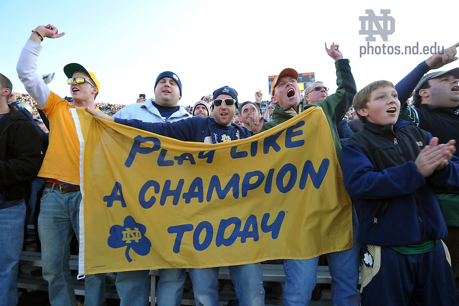 Nov. 17, 2012; Fans in the south end zone stand and cheer.