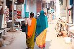 Colourful Saris-Bazaar in Taj Ganj, Agra
