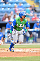 Lexington Legends catcher Meibrys Viloria (4) swings at a pitch during a game against the Asheville Tourists at McCormick Field on May 29, 2017 in Asheville, North Carolina. The Legends defeated the Tourists 5-2. (Tony Farlow/Four Seam Images)