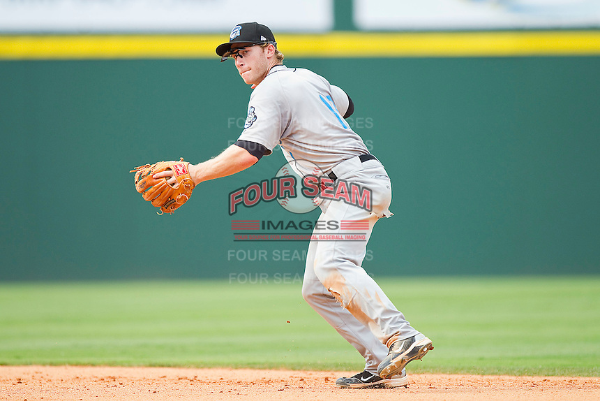 Second baseman Matt Antonelli #17 of the Syracuse Chiefs makes a throw to first base against the Charlotte Knights at Knights Stadium on June 19, 2011 in Fort Mill, South Carolina.  The Knights defeated the Chiefs 10-9.    (Brian Westerholt / Four Seam Images)