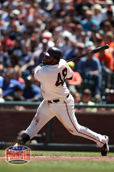 SAN FRANCISCO - JUNE 30:  Pablo Sandoval of the San Francisco Giants bats during the game against the Cincinnati Reds Giants at AT&T Park on June 30, 2012 in San Francisco, California. (Photo by Brad Mangin)