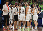 Mar. 20, 2015; Head coach Muffet McGraw talks to her players during the first round of the NCAA Tournament against Montana at the Purcell Pavilion. Photo by Barbara Johnston/University of Notre Dame)