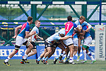 A-Trade Overseas Old Boys (in blue and pink) defeats Irish Vikings (in blue) 5 to 0 during the day 1 (Pool A) of GFI HKFC Rugby Tens 2016 on 06 April 2016 at Hong Kong Football Club in Hong Kong, China. Photo by Juan Manuel Serrano / Power Sport Images