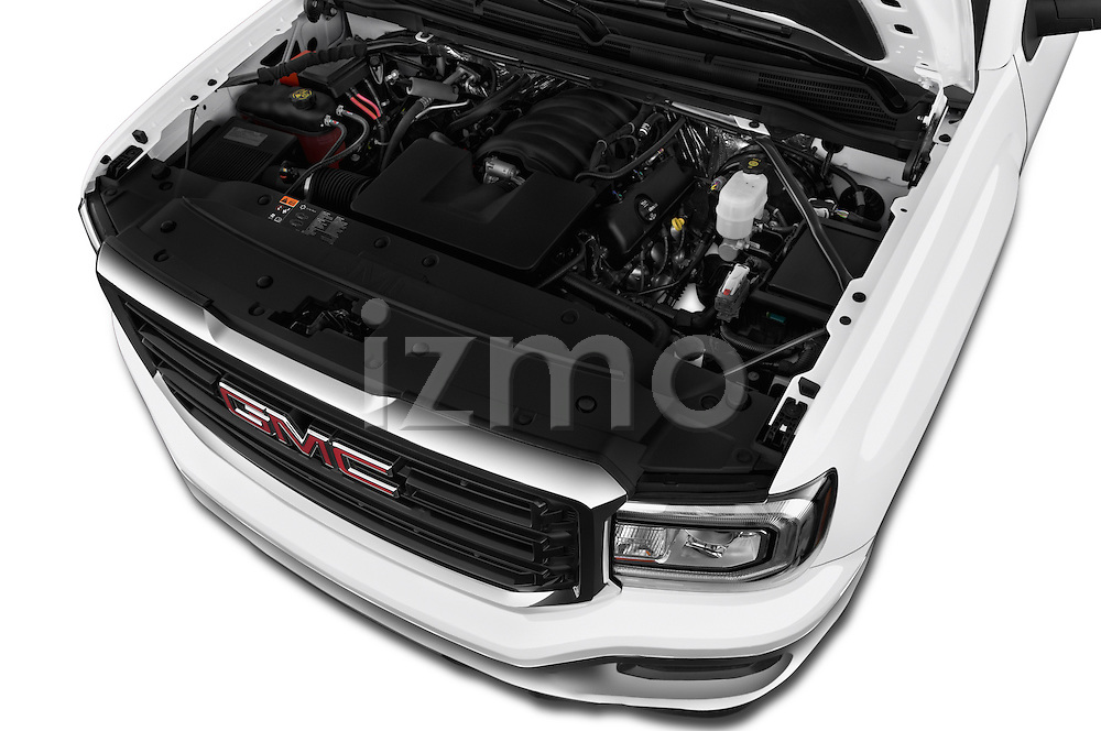 Car Stock 2016 GMC Sierra 1500 2WD Double Cab Standard Box SLE 4 Door Pick-up Engine  high angle detail view