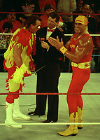 Hulk Hogan Brutus The Barbar Beefcake   Vince McMahon 1989<br /> Photo By John Barrett/PHOTOlink