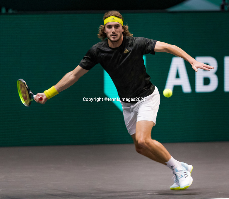Rotterdam, The Netherlands, 5 march  2021, ABNAMRO World Tennis Tournament, Ahoy,  Quarter final: Stefanos Tsitsipas (GRE). Photo: www.tennisimages.com/henkkoster