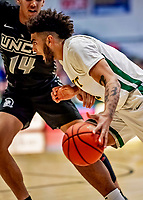 18 December 2019: University of Vermont Catamount Forward Anthony Lamb, a Senior from Rochester, NY, in first half action against the UNC Greensboro Spartans at Patrick Gymnasium in Burlington, Vermont. The Spartans edged out the Catamounts 54-53 in the final minutes of play. Mandatory Credit: Ed Wolfstein Photo *** RAW (NEF) Image File Available ***