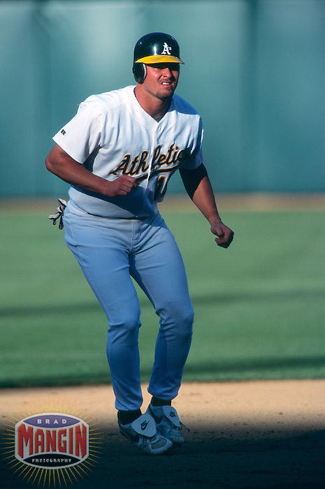 OAKLAND, CA -  Jason Giambi of the Oakland A's in action at the Oakland Coliseum in Oakland, CA in 1998.  Photo by Brad Mangin