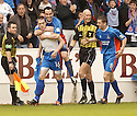 20040508    Copyright Pic: James Stewart.File Name : jspa10_clyde_v_ict.CRAIG MACMILLAN (16) IS CONGRATULATED AFTER SCORING CALEY'S WINNER....James Stewart Photo Agency 19 Carronlea Drive, Falkirk. FK2 8DN      Vat Reg No. 607 6932 25.Office     : +44 (0)1324 570906     .Mobile  : +44 (0)7721 416997.Fax         :  +44 (0)1324 570906.E-mail  :  jim@jspa.co.uk.If you require further information then contact Jim Stewart on any of the numbers above.........