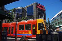 USA, Oregon, Portland Streetcar in the Pearl District of NW Portland