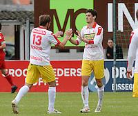 FC Gullegem : Daniel Ternest (r) viert zijn doelpunt <br /> foto VDB / BART VANDENBROUCKE