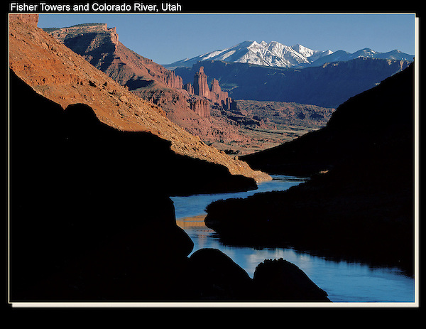 Sunset on Fisher Towers and La Sal Mountains, Colorado River, Moab, Utah.<br />