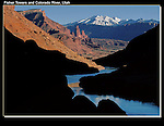 Sunset on Fisher Towers and La Sal Mountains, Colorado River, Moab, Utah.<br /> John Kieffer offers Utah photo tours. Year-round Utah photo tours.