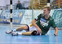 Handball 2. Bundesliga Herren - SC DHfK gegen HC Erlangen am 05.11.2013 in Leipzig (Sachsen). <br /> IM BILD: Philipp Weber (DHfK) am Boden <br /> Foto: Christian Nitsche