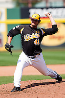 Charlie Lowell (41) of the Wichita State Shockers throws a pitch during a game against the Missouri State Bears on April 9, 2011 at Hammons Field in Springfield, Missouri.  Photo By David Welker/Four Seam Images