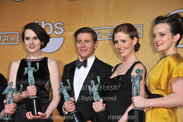 Downton Abbey stars Michelle Dockery (left), Allen Leech, Amy Nuttall & Sophie McShera at the 19th Annual Screen Actors Guild Awards at the Shrine Auditorium, Los Angeles..January 27, 2013  Los Angeles, CA.Picture: Paul Smith / Featureflash