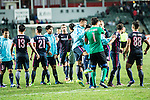 SC Kitchee Squad celebrate after winning the match during the 2017 Lunar New Year Cup match between SC Kitchee (HKG) vs Muangthong United (THA) on January 28, 2017 in Hong Kong, Hong Kong. Photo by Marcio Rodrigo Machado/Power Sport Images
