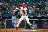 Nick Hanks (44) of the Louisiana Ragin' Cajuns at bat against the Vanderbilt Commodores in game five of the 2018 Shriners Hospitals for Children College Classic at Minute Maid Park on March 3, 2018 in Houston, Texas.  The Ragin' Cajuns defeated the Commodores 3-0.  (Brian Westerholt/Four Seam Images)