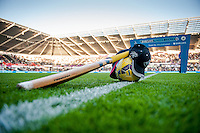 Saturday 29th November 2014<br /> Pictured: Cricket bat and hat placed on the pitch in memory of cricket player Phillip Hughes<br /> Re: Barclays Premier League Swansea City v Crystal Palace at the Liberty Stadium, Swansea, Wales,UK