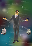 Illustrative image of businessman weighing money and graph on scale representing budgeting