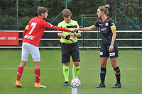 defender Maurane Marinucci (7 Standard) , referee Sylvie Deckers , defender Pauline Windels (5 Zulte-Waregem)  pictured during a female soccer game between Standard Femina de Liege and Dames SV Zulte Waregem on the fifth matchday of the 2020 - 2021 season of Belgian Scooore Womens Super League , saturday 17 th of October 2020  in Angleur , Belgium . PHOTO SPORTPIX.BE | SPP | STIJN AUDOOREN