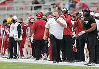 Arkansas head coach Sam Pittman reacts, Saturday, November 21, 2020 during the first quarter of a football game at Donald W. Reynolds Razorback Stadium in Fayetteville. Check out nwaonline.com/201122Daily/ for today's photo gallery. <br /> (NWA Democrat-Gazette/Charlie Kaijo)