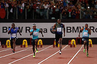 Golden Gala di atletica leggera allo stadio Olimpico di Roma, 6 giugno 2013.<br /> Justin Gatlin, of the United States, left, runs past his compatriot Michael Rodgers, second from left, Jamaica's Usain Bolt, and Calesio Newman, also of the United States, right, on his way to win the men's 100 meters race at the Golden Gala IAAF athletics meeting at Rome's Olympic stadium, 6 June 2013.<br /> UPDATE IMAGES PRESS/Isabella Bonotto