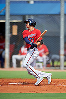 GCL Twins first baseman Benjamin Rodriguez (71) hits an RBI single during the first game of a doubleheader against the GCL Rays on July 18, 2017 at Charlotte Sports Park in Port Charlotte, Florida.  GCL Twins defeated the GCL Rays 11-5 in a continuation of a game that was suspended on July 17th at CenturyLink Sports Complex in Fort Myers, Florida due to inclement weather.  (Mike Janes/Four Seam Images)