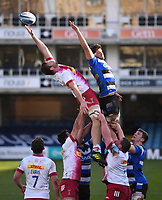 6th February 2021; Recreation Ground, Bath, Somerset, England; English Premiership Rugby, Bath versus Harlequins; Stephan Lewies of Harlequins competes for the ball at the lineout with Mike Williams of Bath