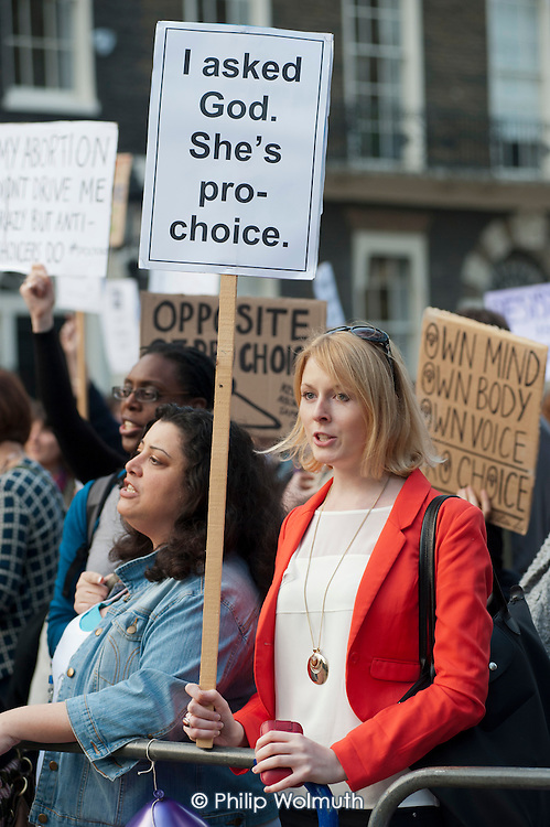 Pro-choice protest by Abortion Rights outside a British Pregnancy Advisory Service  clinic in Bloomsbury, London, where anti-choice group 40 Days for Life is conducting a daily picket during Lent.