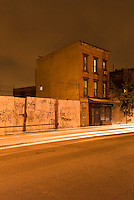 Mysterious Street Scene on an Overcast Night with Light Streaks from Passing Cars, Williamsburg, Brooklyn, New York City, New York State, USA