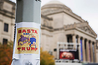 NEW YORK, NY - OCTOBER 24: View of a cartoon next to the Brooklyn Museum during early voting for the United States ; on October 24, 2020 in New York City. Due to concerns about the coronavirus and social distancing, New York State is allowing early voting for the first time to protect voters from new infections in the city (Photo by Pablo Monsalve / VIEWpress via Getty Images)