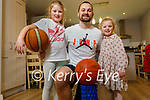 Fergal O'Sullivan who is doing basketball practice and recordings for Zoom sessions for indoor and outdoor practice.  L to r: Ava, Fergal and Fiadh O'Sullivan